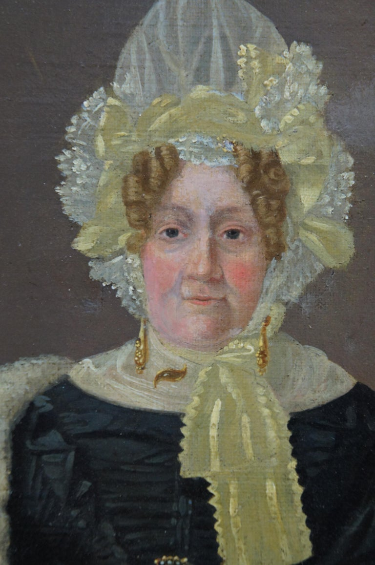 Antique 19th Century Oil on Canvas Portrait Woman in Bonnet For Sale 5
