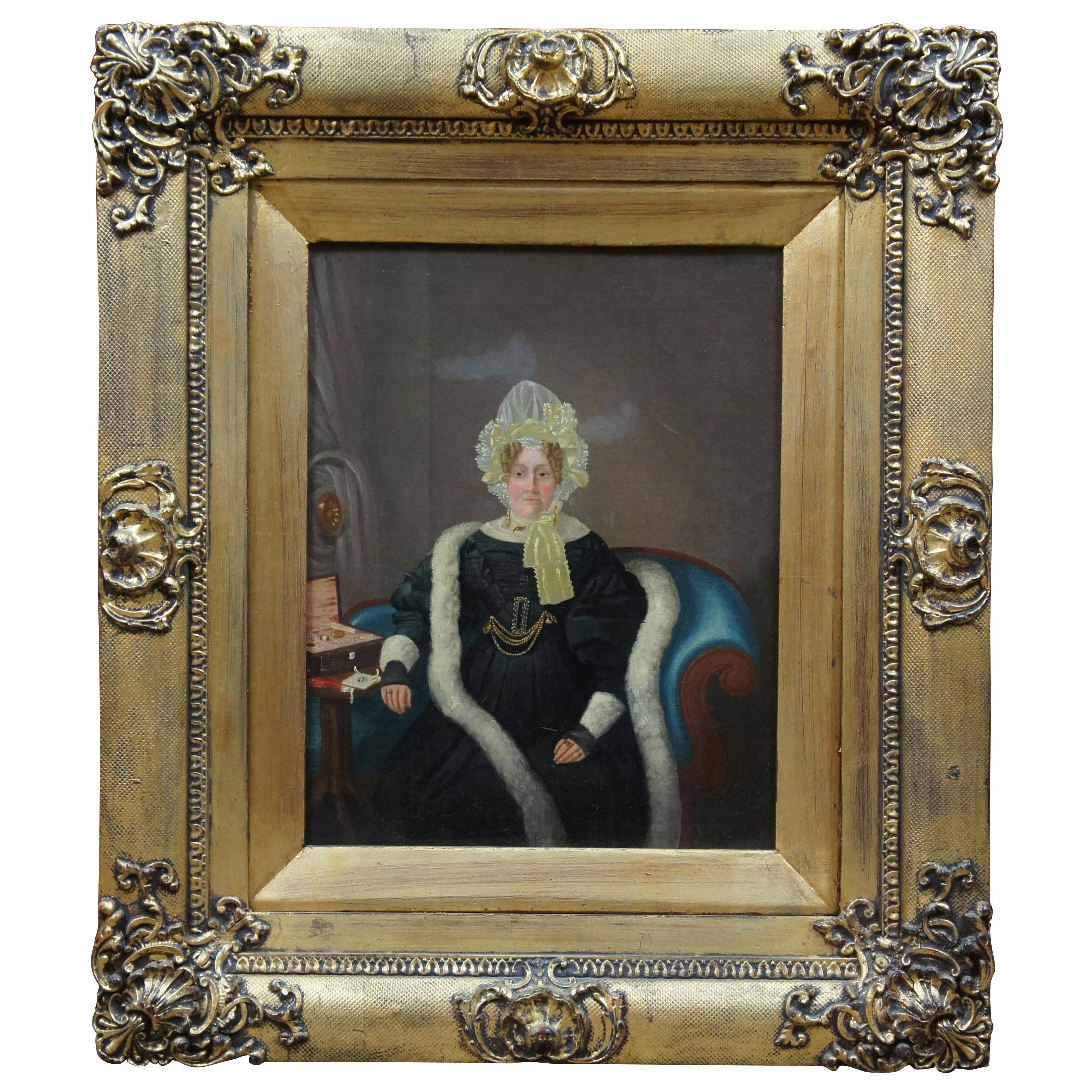 Antique 19th Century Oil on Canvas Portrait Woman in Bonnet