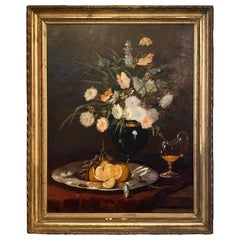 "Antique 19th Century Oil on Canvas Still Life Painting Signed ""Folrez"""