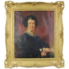 Antique 19th Century Oil Painting Portrait of a Woman Lady Baroque Frame