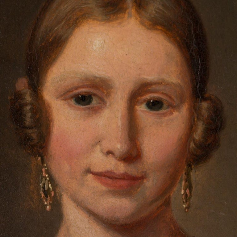 Antique 19th Century Original Danish Oil Painting Portrait of a Young Lady In Good Condition For Sale In Denver, CO