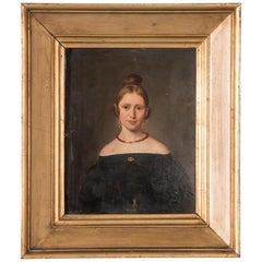 Antique 19th Century Original Danish Oil Painting Portrait of a Young Lady