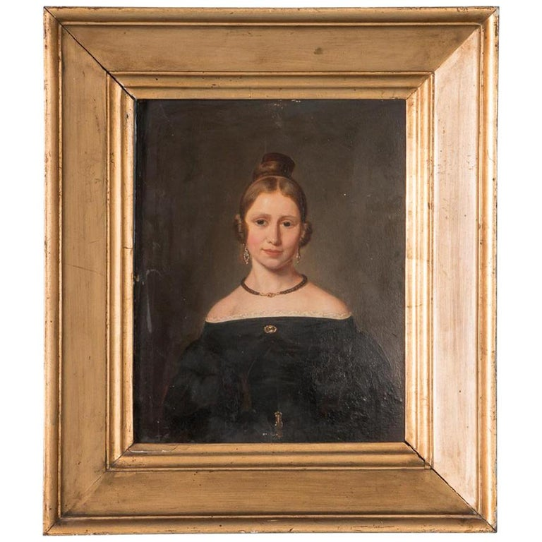 Antique 19th Century Original Danish Oil Painting Portrait of a Young Lady For Sale