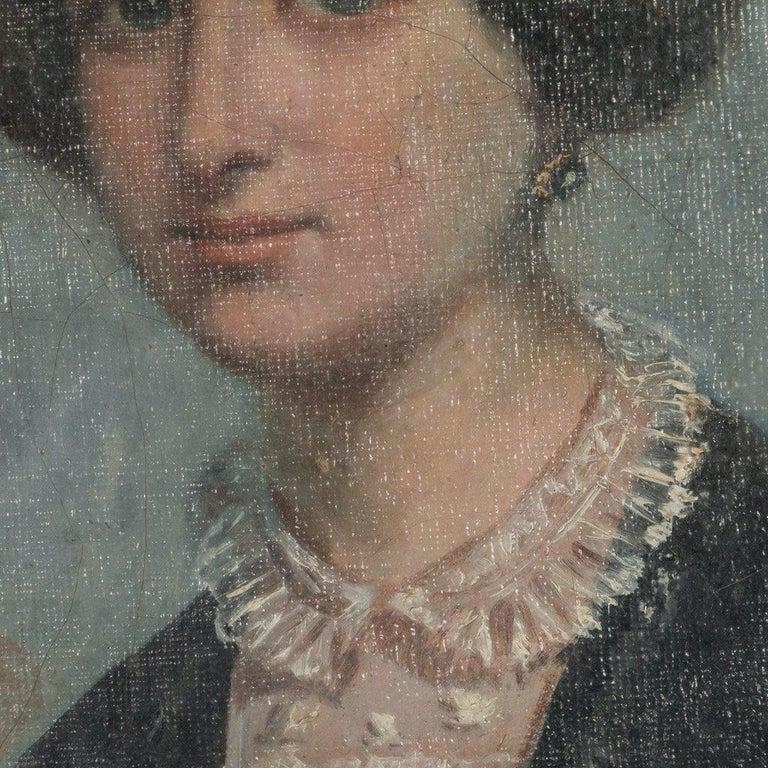 Danish Antique 19th Century Original Oil Painting Portrait of a Lady For Sale