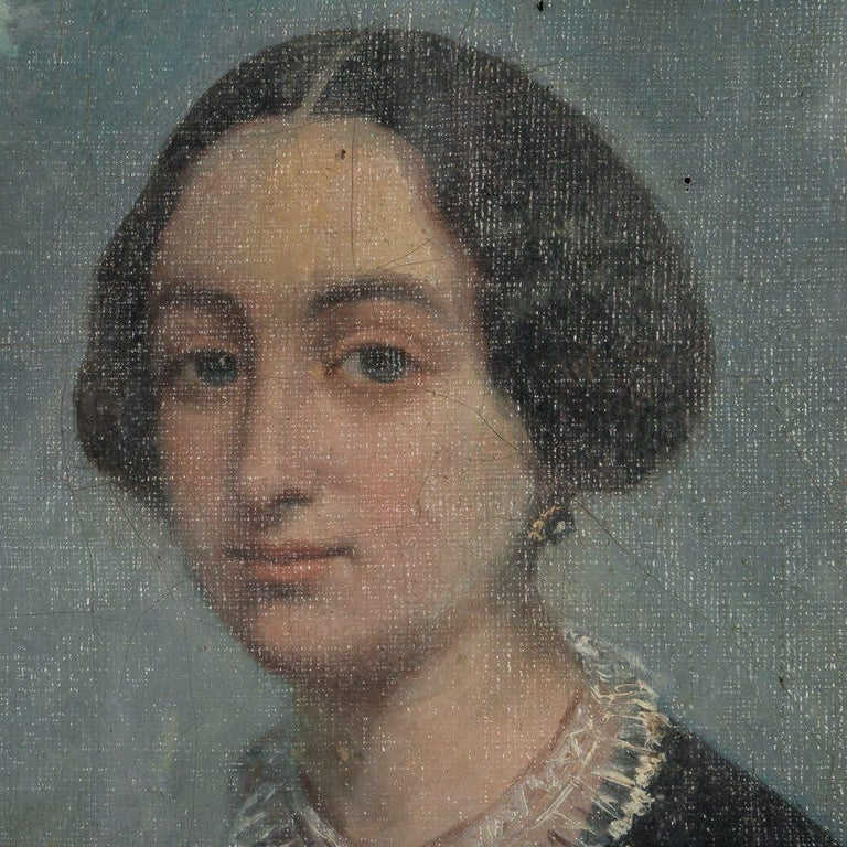 Antique 19th Century Original Oil Painting Portrait of a Lady In Fair Condition For Sale In Denver, CO