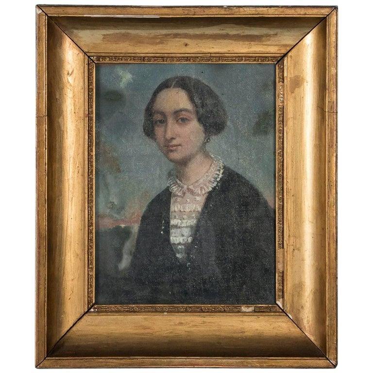 Antique 19th Century Original Oil Painting Portrait of a Lady For Sale