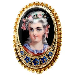 Antique 19th Century Painted Enamel Portrait Pendant Brooch