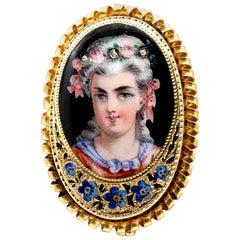 Antique 19th Century Painted Enamel Portrait Pendant Brooch