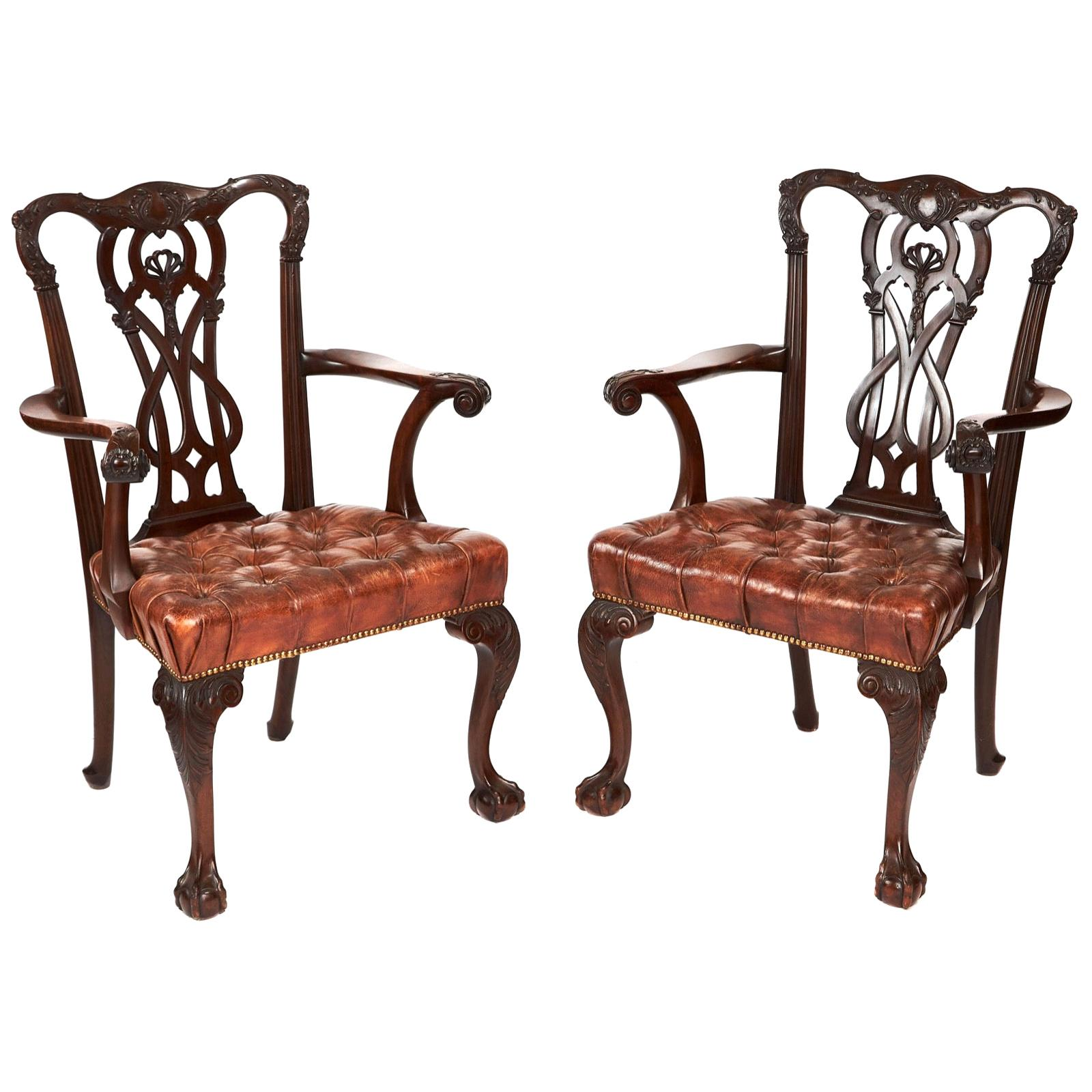 Antique 19th Century Pair of Mahogany Chippendale Style Desk/Elbow Chairs