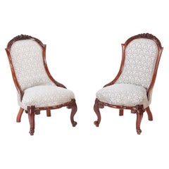 Antique 19th Century Pair of Victorian Carved Walnut Ladies Chairs