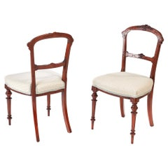 Antique 19th Century Pair of Victorian Walnut Side/Desk Chairs