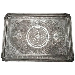 Antique 19th Century Persian Silver Tray
