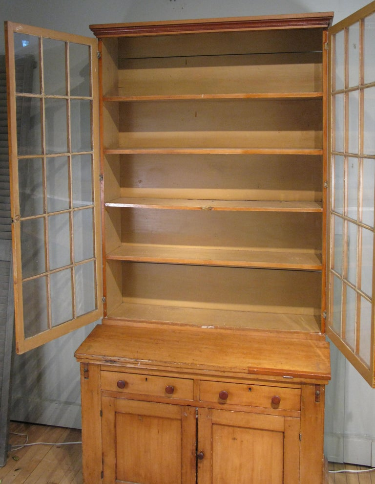 Antique 19th Century Pine Secretary Bookcase Desk For Sale 1