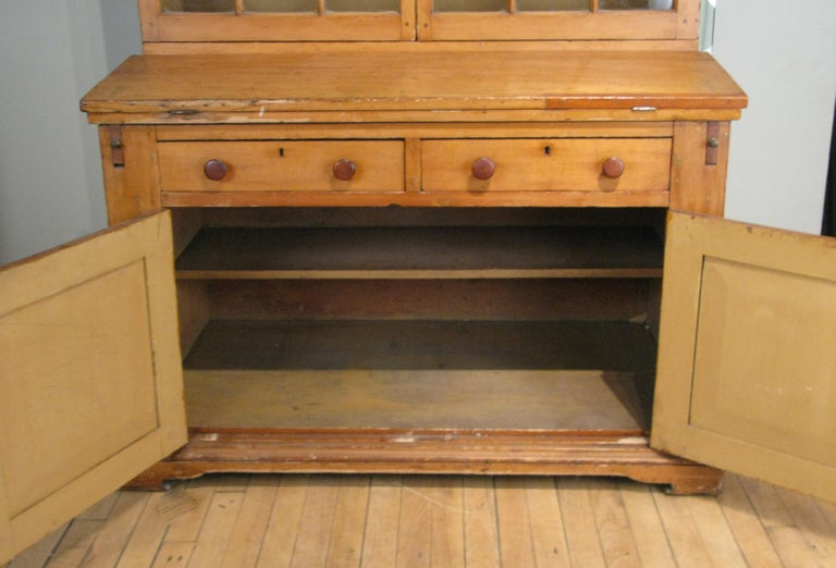 Antique 19th Century Pine Secretary Bookcase Desk For Sale 2