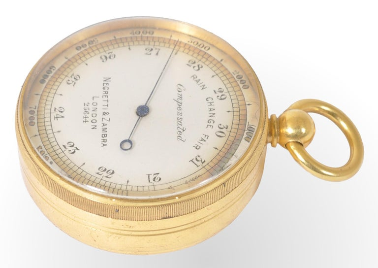 Victorian Antique 19th Century Pocket Barometer by Negretti & Zambra of London, circa 1880 For Sale