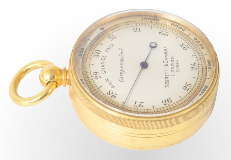 Antique 19th Century Pocket Barometer by Negretti & Zambra of London, circa 1880 In Good Condition For Sale In Portland, OR