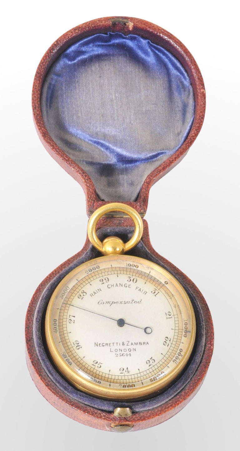 Metal Antique 19th Century Pocket Barometer by Negretti & Zambra of London, circa 1880 For Sale