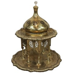 Antique 19th Century Polished Brass Brazier from Morocco