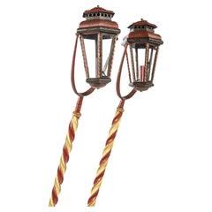 Antique 19th-Century Polychrome Italian Venetian Gondola Lanterns