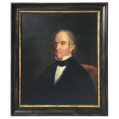 Antique 19th Century Portrait of a Gentleman in Red Chair