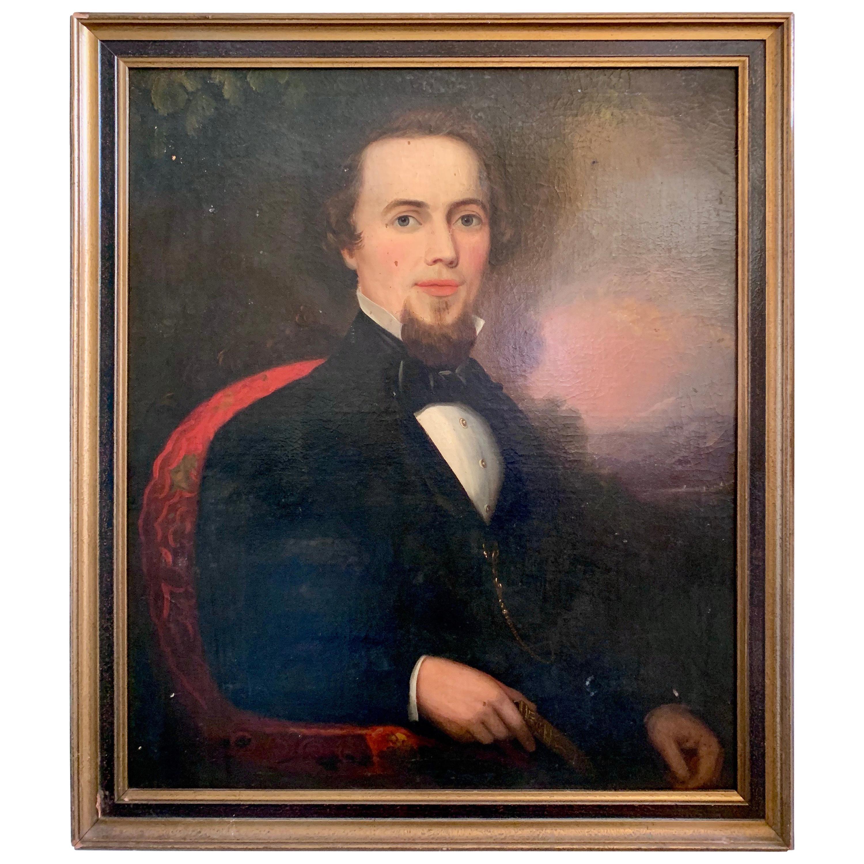 Antique 19th Century Portrait of a Man Original Oil Painting