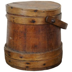 Antique 19th Century Primitive Wooden Firkin Sugar Bucket Bail Basket