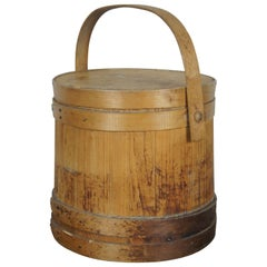 Antique 19th Century Primitive Wooden Firkin Sugar Bucket Basket Bail