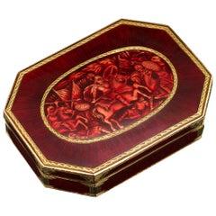 Antique 19th Century Rare Indian Enameled Gold Snuff Box Jaipur, circa 1840