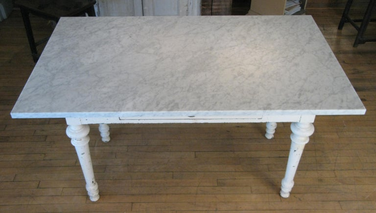 American Antique 19th Century Refectory Table with Venatino Marble Top For Sale
