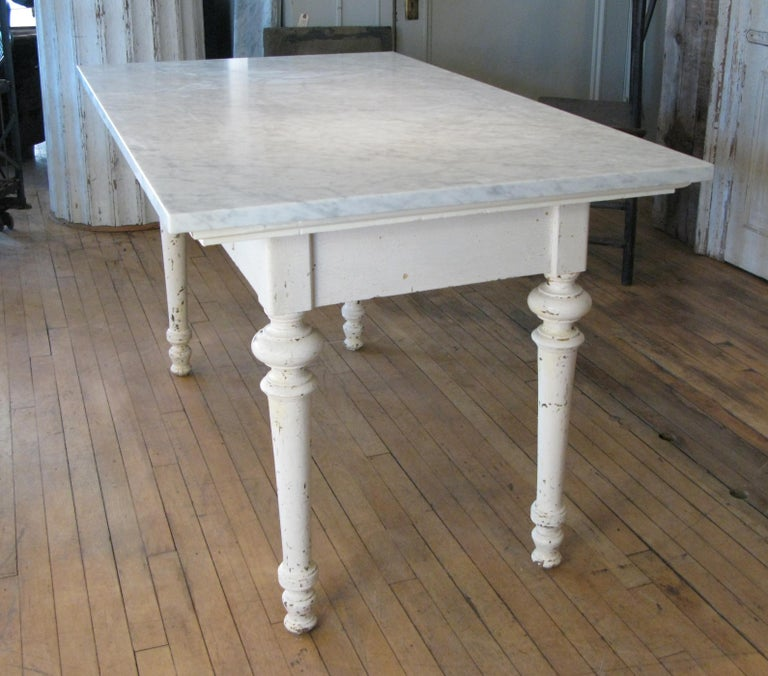 Antique 19th Century Refectory Table with Venatino Marble Top In Good Condition For Sale In Hudson, NY