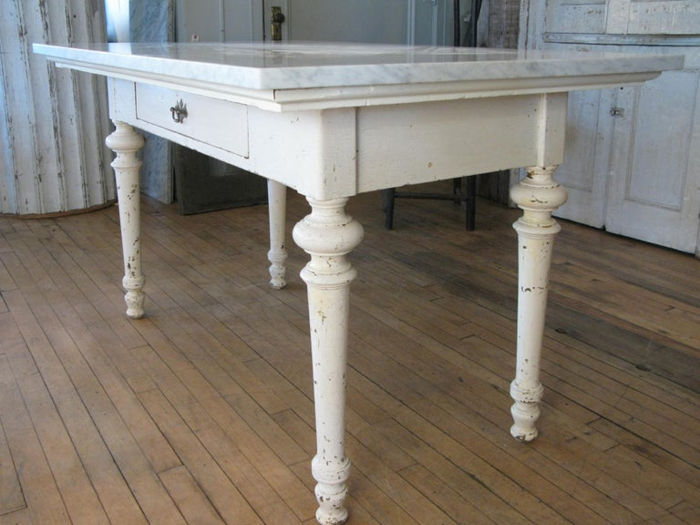 Antique 19th Century Refectory Table with Venatino Marble Top For Sale 1