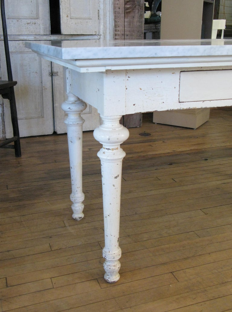 Antique 19th Century Refectory Table with Venatino Marble Top For Sale 3