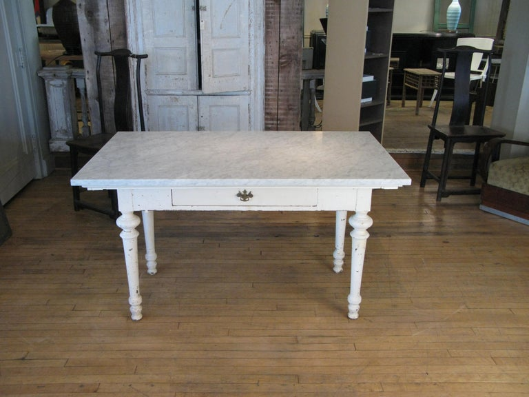 Antique 19th Century Refectory Table with Venatino Marble Top For Sale 4
