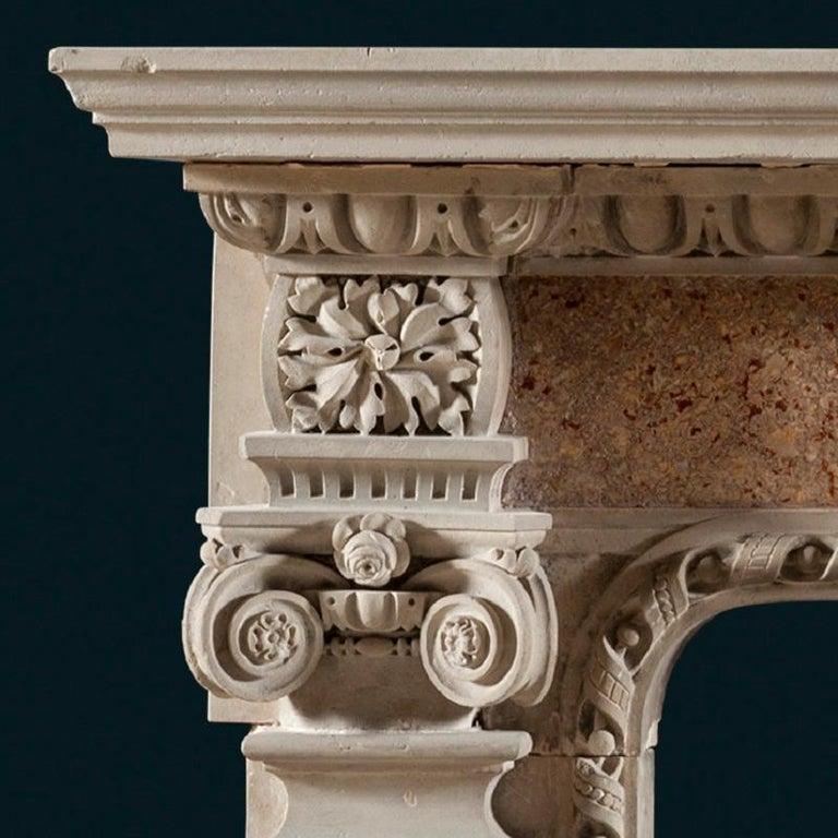 British Antique 19th Century Renaissance Style Portland Stone & Marble Fireplace Mantle For Sale