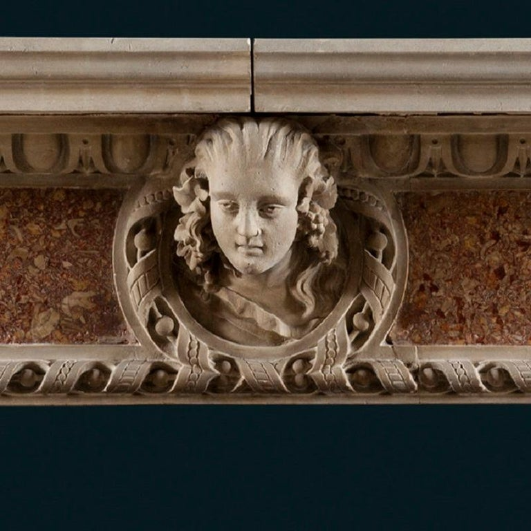 Carved Antique 19th Century Renaissance Style Portland Stone & Marble Fireplace Mantle For Sale