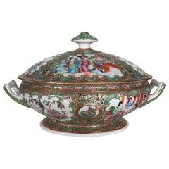Antique 19th Century Rose Medallion Chines Export Tureen
