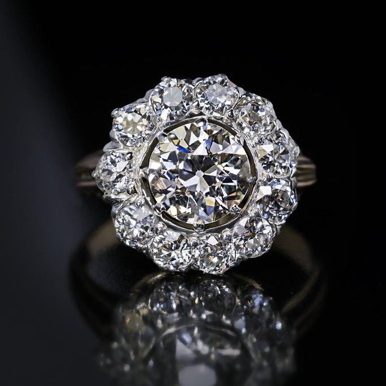 Antique Engagement Rings For Sale: Antique 19th Century Russian 3 Carat Total Weight Diamond