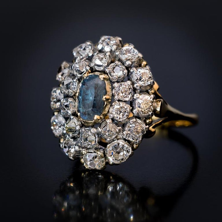 Victorian Antique 19th Century Russian Alexandrite Diamond Cluster Ring For Sale