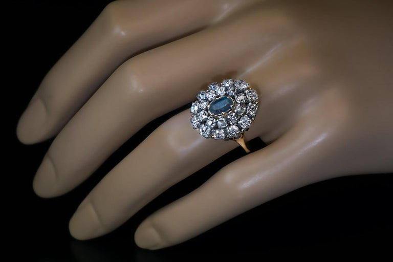 Women's Antique 19th Century Russian Alexandrite Diamond Cluster Ring For Sale