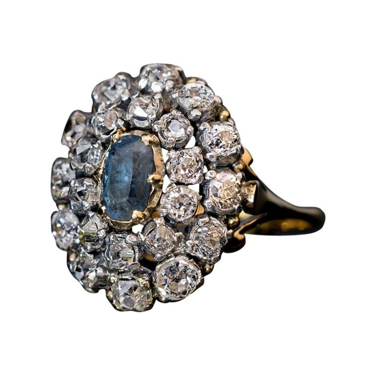 Antique 19th Century Russian Alexandrite Diamond Cluster Ring For Sale