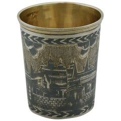 Antique 19th Century Russian Silver Gilt Niello Enamel Beaker