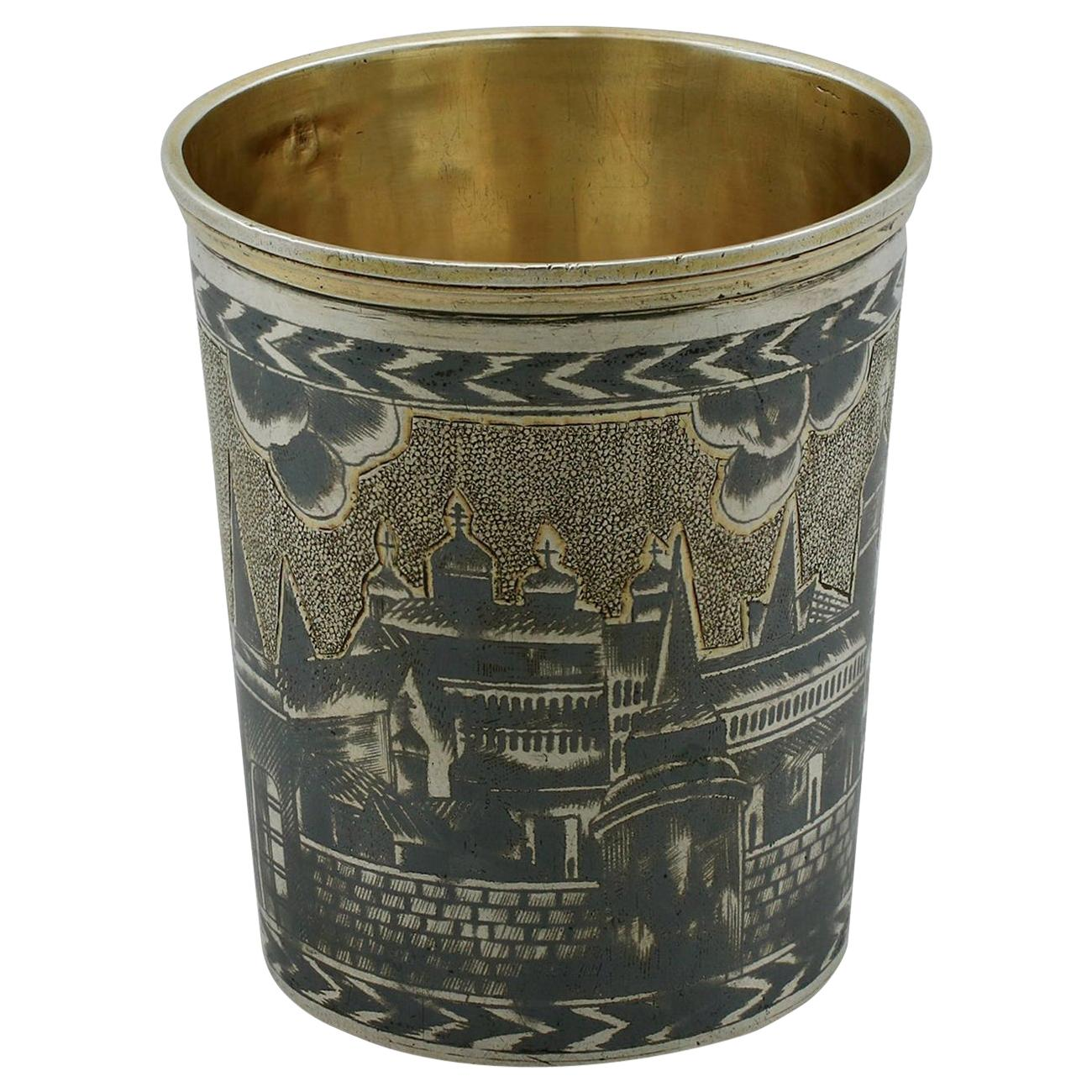 Antique 19th Century Russian Silver Gilt Niello Enamel Beaker