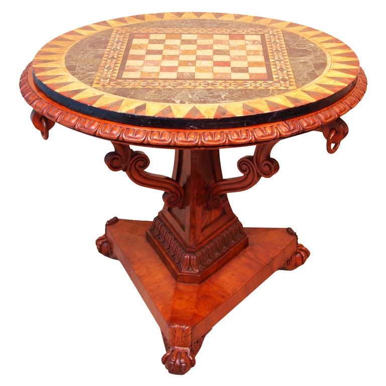 Antique 19th Century Satinwood Pietra Dura Marble Centre Table
