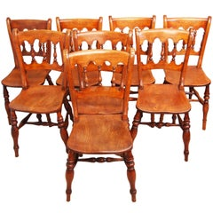 Antique 19th Century Set of Eight Beech and Elm Kitchen Windsor Chairs