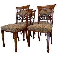 Antique 19th Century Set of Six Elegant Inlaid Mahogany Dining Chairs