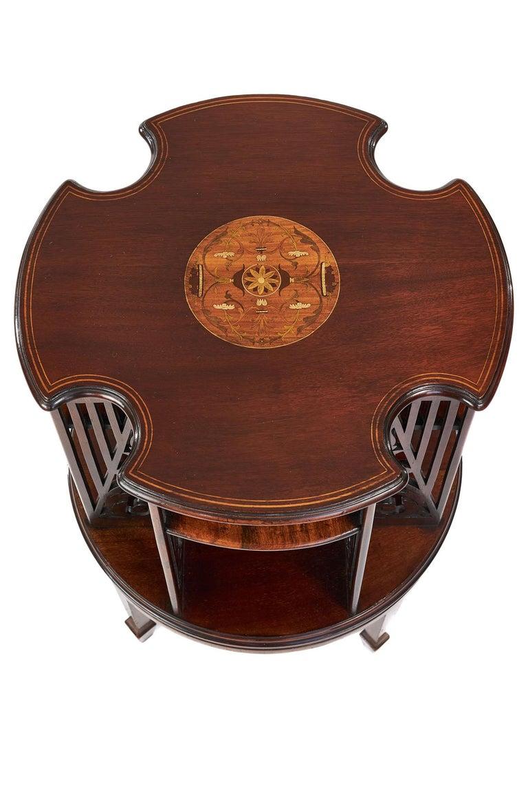 English Antique 19th Century Sheraton Revival Inlaid Mahogany Revolving Bookcase For Sale