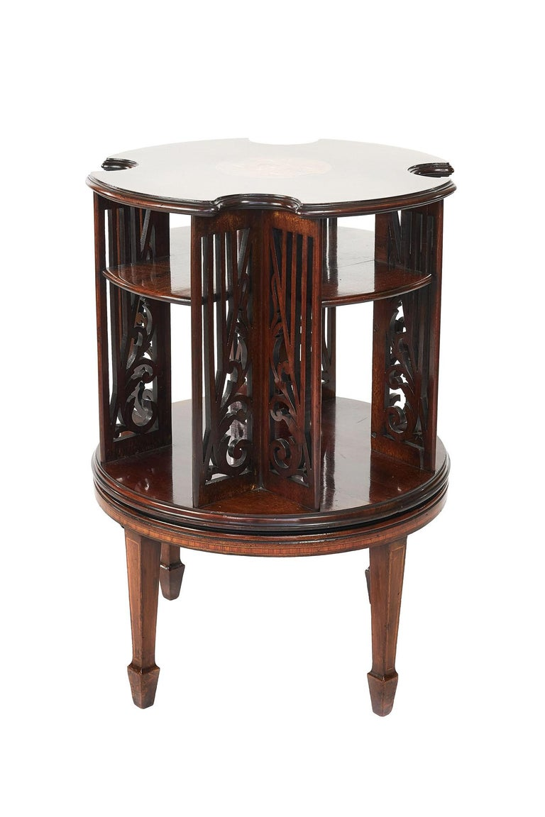 Antique 19th Century Sheraton Revival Inlaid Mahogany Revolving Bookcase In Good Condition For Sale In Norwich, GB