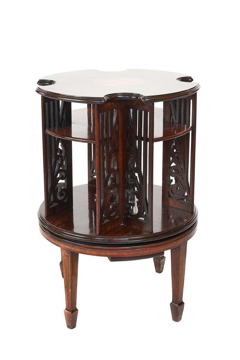 Antique 19th Century Sheraton Revival Inlaid Mahogany Revolving Bookcase For Sale 1