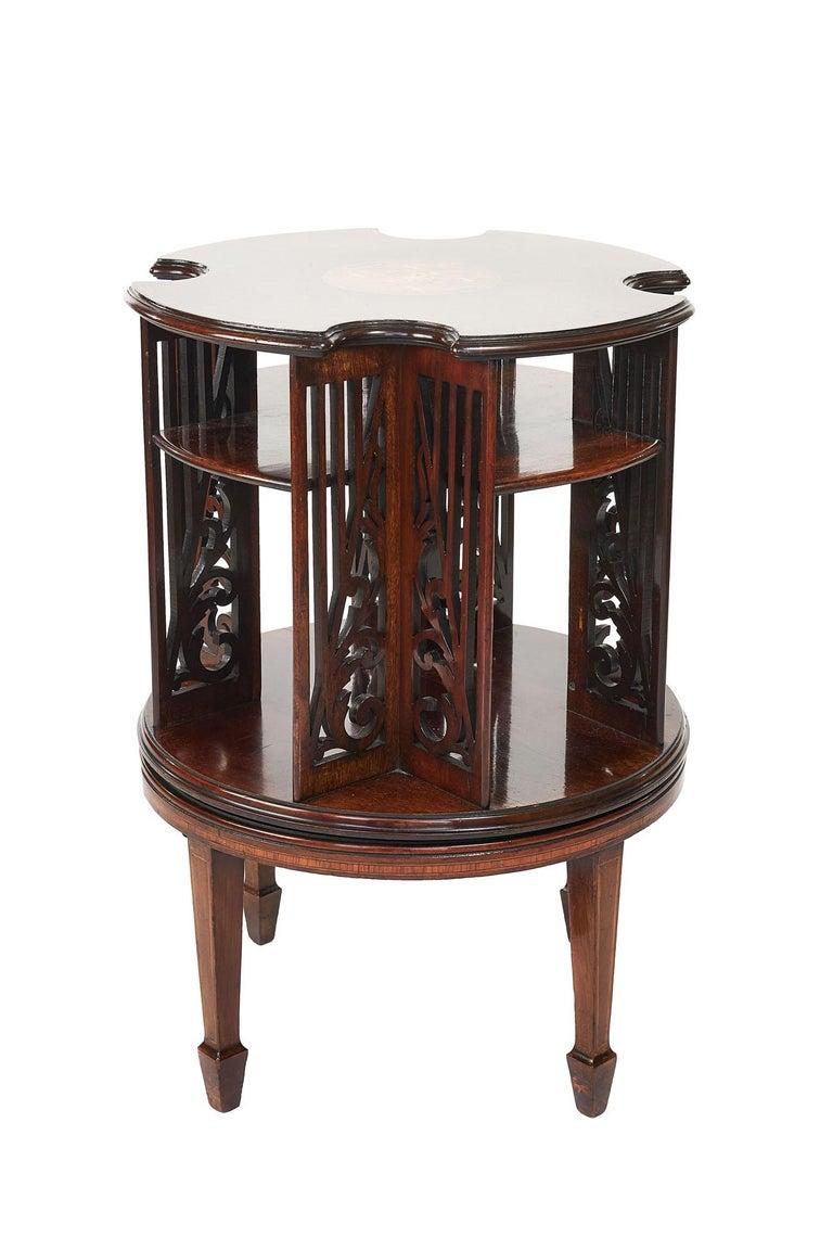 Antique 19th Century Sheraton Revival Inlaid Mahogany Revolving Bookcase For Sale 2