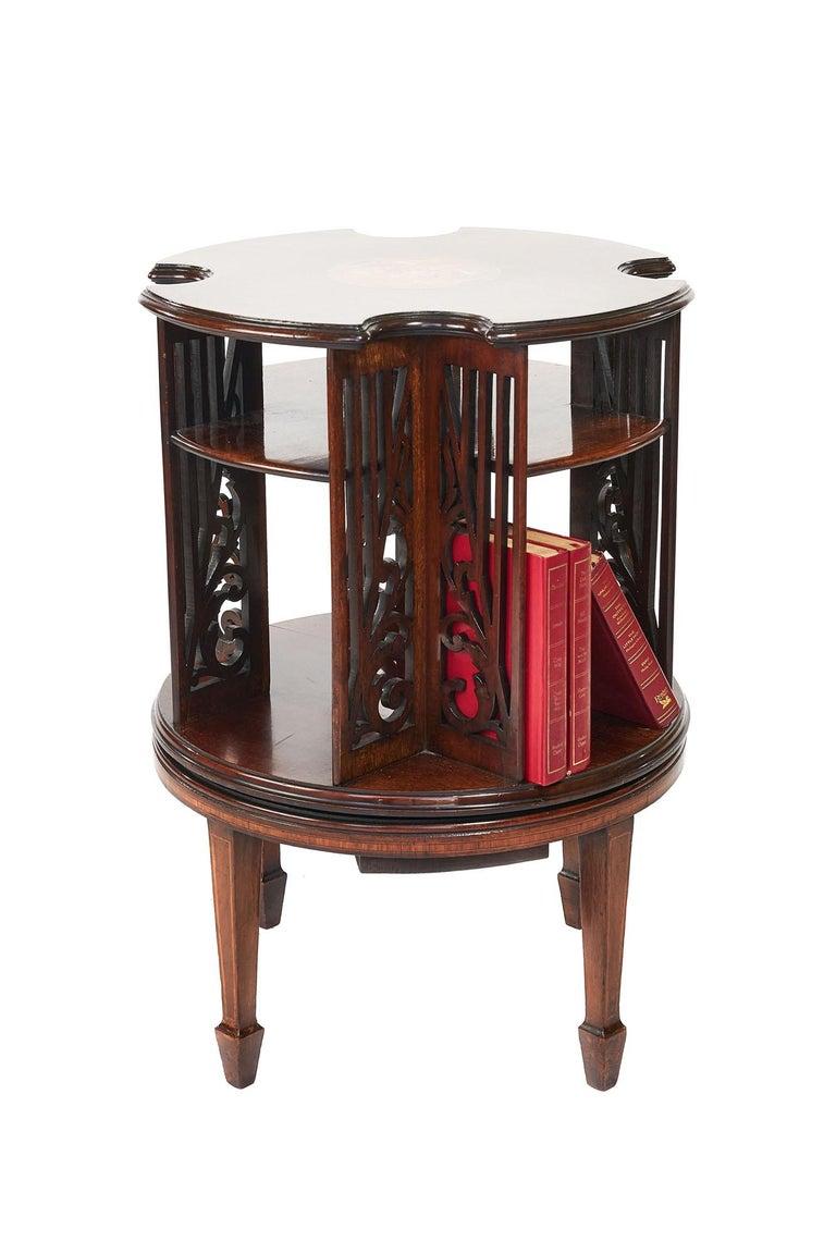Antique 19th Century Sheraton Revival Inlaid Mahogany Revolving Bookcase For Sale 3
